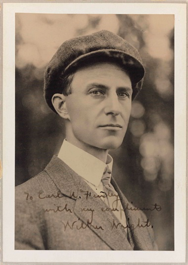Wright, Wilbur (1867-1912). Signed photograph ('Wilbur Wright'). 174 x 125 mm. Mounted to a board, inscribed to Earl Findley. Estimate $4,000-6,000.  This lot is offered in Fine Printed Books and Manuscripts, including Americana on 14 December at Christie's in New York
