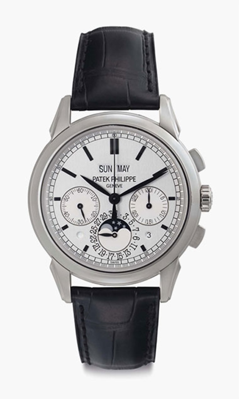 Patek Philippe. A fine 18k white gold perpetual calendar chronograph wristwatch with moon phases, leap year and daynight indication. Signed Patek Philippe, Genève, Ref. 5270G, Movement No. 5587247, Case No. 4544865, Circa 2011. This lot was offered in Rare Watches including NAUTILUS 40 part IV on 6 December 2016 at Christie's in New York and sold for $112,500