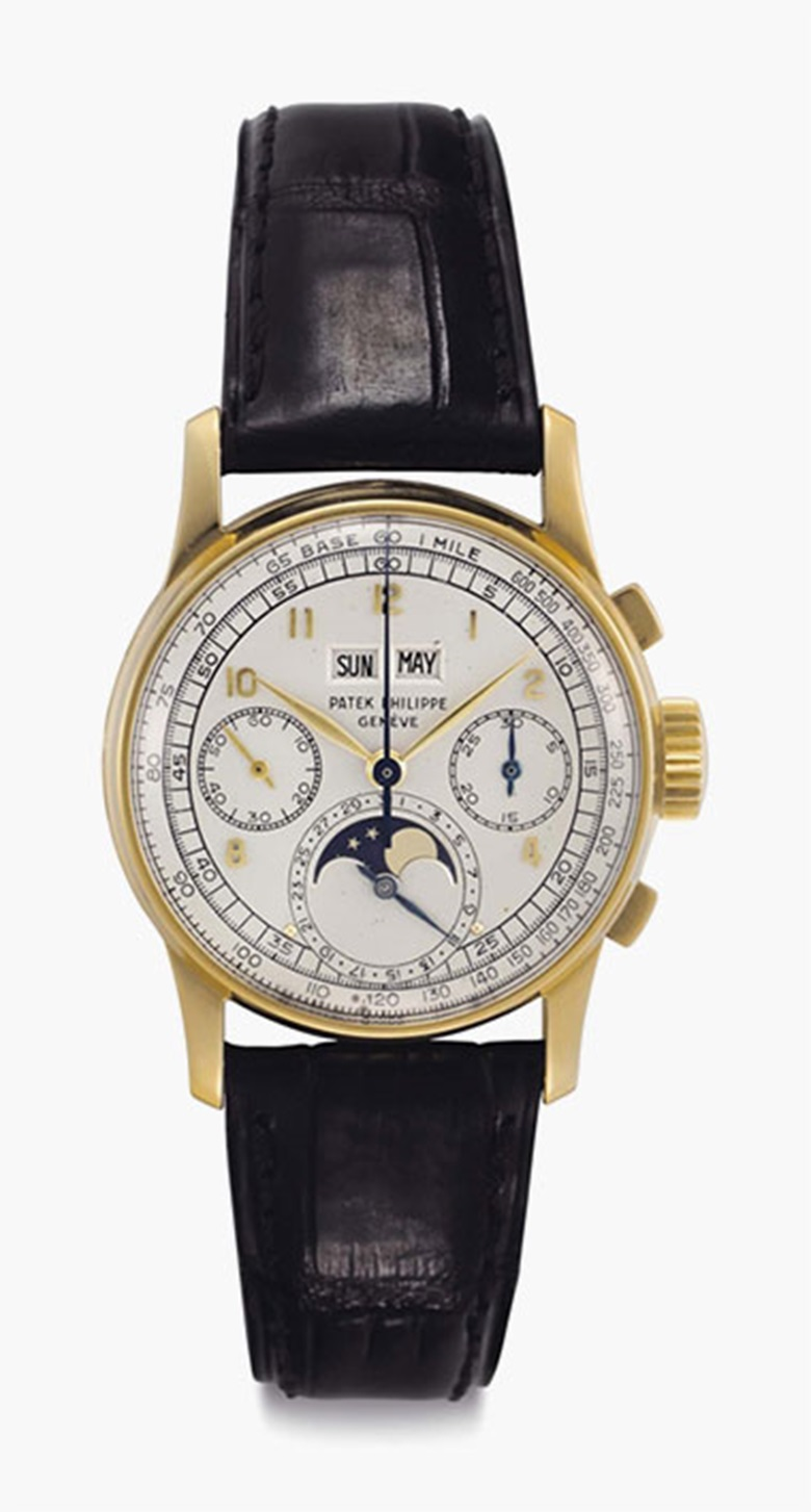 Patek Philippe. A Fine and Rare 18k Gold Perpetual Calendar Chronograph Wristwatch with Moon Phases. Signed Patek Philippe, Genève, Ref. 1518, Movement No. 867528, Case No. 657236, Manufactured in 1948. This lot was offered in Rare Watches including NAUTILUS 40 part IV on 6 December 2016 at Christie's in New York and sold for $175,000