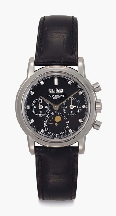 Patek Philippe. A Very Fine and Rare Platinum and Diamond-set Perpetual Calendar Chronograph Wristwatch with Moon Phases and Additional Solid Caseback. Signed Patek Philippe, Genève, Ref. 3970E, Movement No. 3045508, Case No. 2994045, Manufactured in 1996. This lot was offered in Rare Watches including NAUTILUS 40 part IV on 6 December 2016 at Christie's in New York and sold for