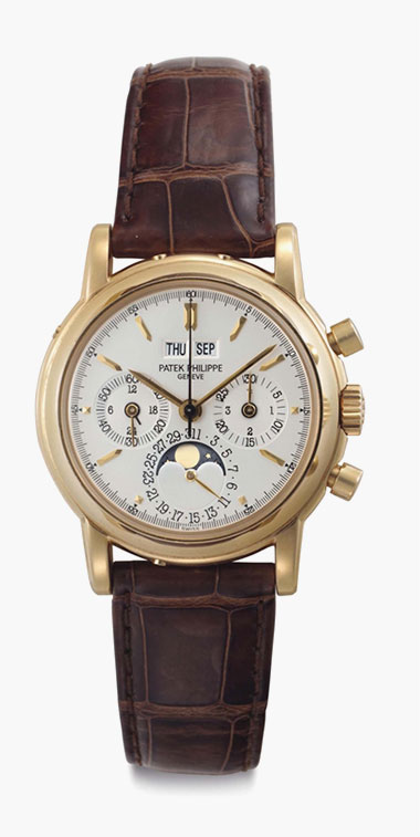 Patek Philippe. An 18k Gold Perpetual Calendar Chronograph Wristwatch with Moon Phases and Additional Solid Caseback. Signed Patek Philippe, Genève, Ref. 3970EJ, Movement No. 3046486, Case No. 4177054, Manufactured in 2002. This lot was offered in Rare Watches including NAUTILUS 40 part IV on 6 December 2016 at Christie's in New York, Rockefeller Plaza