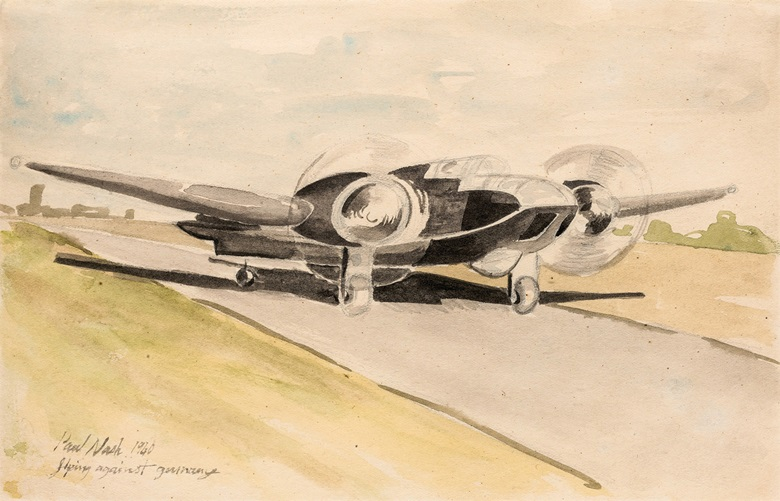 Paul Nash (1889-1946), Flying Against Germany. Pencil and watercolour, 6 x 9½ in (16 x 24 cm). Estimate £4,000-6,000. This lot is offered in ModernBritish Art Online, 2-13 December 2016