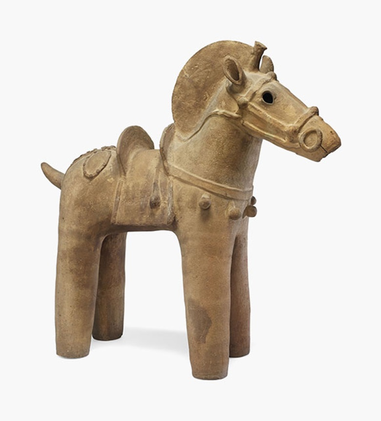 A haniwa model of a horse. Kofun period (c.  6th century). 93 cm long; 89 cm high. Estimate £30,000-50,000. This lot is offered in Art of Japan on 8 December 2016 at Christie's in London, King Street
