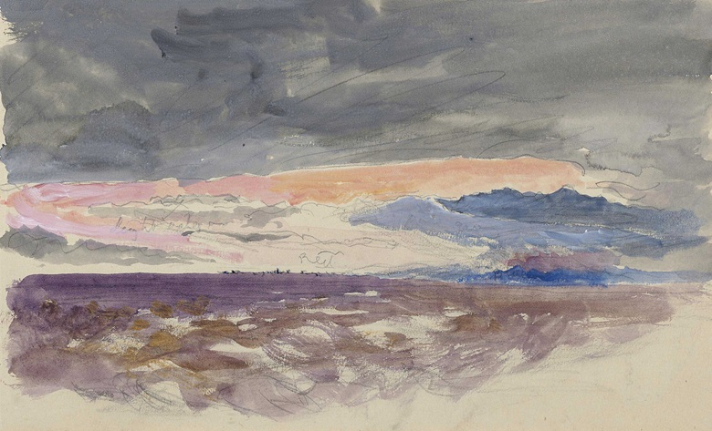 John Ruskin, H.R.W.S. (London 1819-1900), The Sun Setting through Clouds. Pencil and watercolour, heightened with bodycolour, 5⅜ x 8⅞ in (13.8 x 22.5 cm). Estimate £8,000-12,000. This lot is offered in Old Master Drawings and British Drawings and Watercolours on 7 December 2016 at Christie's in London, South Kensington