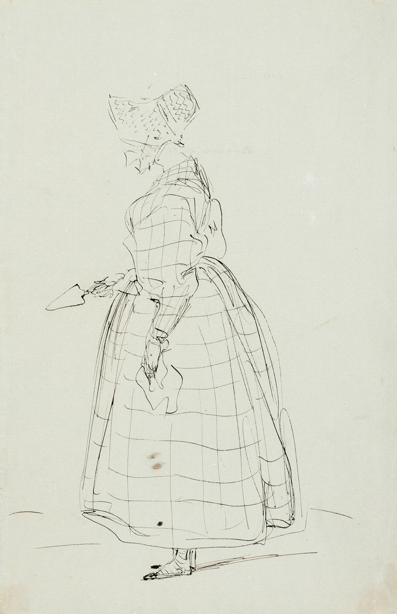 Sir Edwin Henry Landseer, R.A. (London, Five studies of members of the Bedford family, including the Duchess of Bedford holding a trowel (illustrated); Cosmo Russell; Wriothesley Russell; a Study of Big Isabel; and an illustrated letter to Romilly. Two pen and brown ink, one with blind stamp Invergarry, watermark Joseph Coles1833, two pencil and black chalk, heightened with white on buff paper,