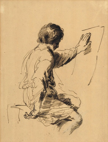 Sir Joshua Reynolds, P.R.A. (1723-1792), The Young Student, After Guercino. Pen and brown ink on buff paper, 9¾ x 7½ in (24.8 x 19.1 cm). Estimate £4,000-6,000. This lot is offered in Old Master Drawings and British Drawings and Watercolours on 7 December 2016 at Christie's in London, South Kensington