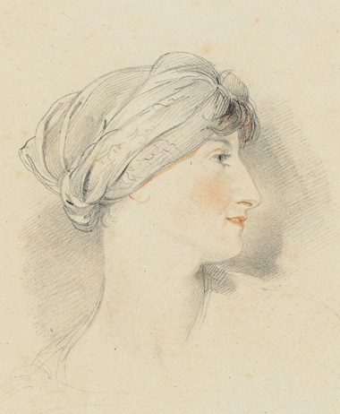 Sir Thomas Lawrence, P.R.A. (Bristol, Portrait Head of Mrs Jens Wolff, in profile to the right, Wearing a Turban. Pencil, black and red chalk, 7⅜ x 5¾ in (18.7 x 14.6 cm). Estimate £4,000-6,000. This lot is offered in Old Master Drawings and British Drawings and Watercolours on 7 December 2016 at Christie's in London, South Kensington