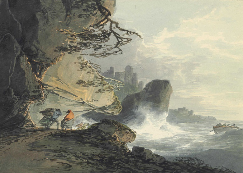 William Payne, O.W.S. (London 1760-1833), Figures in a Storm on the Shore, a Castle Beyond. Pencil and watercolour, 8½ x 12 in (21.6 x 30.5 cm). Estimate £1,200-1,800. This lot is offered in Old Master Drawings and British Drawings and Watercolours on 7 December 2016 at Christie's in London, South Kensington