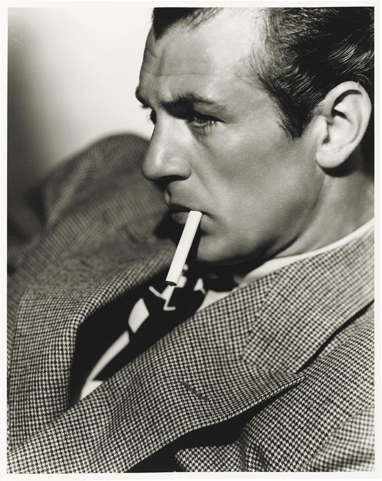Clarence Sinclair Bull (1896–1979), Gary Cooper, 1933. Titled and credited in pencil (verso), image 13⅝ x 10¾ in (34.2 x 27.2 cm), sheet 14 x 11 in (35.6 x 28 cm). Estimate $800-1,200. This lot is offered in Photographs The Classics, 6-15 December 2016, Online. © The John Kobal Foundation