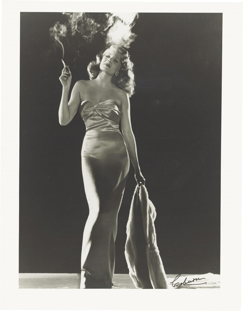 Robert Coburn (1900–1990), Rita Hayworth as Gilda, 1946. Signed in ink (recto); variously annotated in pencil (verso), image 12½ x 9⅛ in (31.6 x 23 cm), sheet 14 x 10⅞ in (35.4 x 27.7 cm). Estimate $1,500-2,500. This lot is offered in Photographs The Classics, 6-15 December 2016, Online. © The John Kobal Foundation