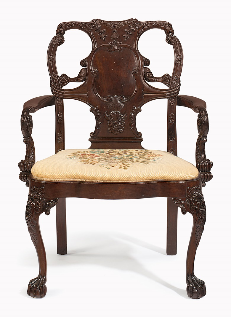 A George II-style mahogany armchair. Early 20th century. Estimate $1,500-2,500. This lot is offered in Palmetto Hall The Jay P. Altmayer Family Collection on 19 January 2017 at Christie's in New York