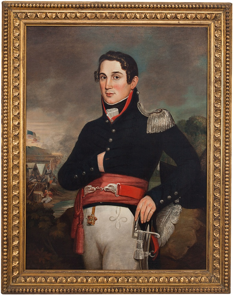 American School,  U.S. Lieutenant, War of 1812. Oil on canvas, 39¼ x 29½ in (99.5 x 75 cm). Estimate $3,000-5,000. This lot is offered in Palmetto Hall The Jay P. Altmayer Family Collection on 19 January 2017 at Christie's in New York
