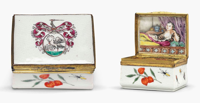 A famille rose armorial porcelain snuff box. Qianlong period (1735-96). 2¾ in (7 cm) long. Estimate $5,000-8,000. This lot is offered in Chinese Export Art on 18 January 2017 at Christie's in New York, Rockefeller Plaza