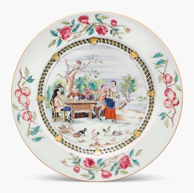 A famille rose card-players plate. Circa 1740. 9 in (22.8 cm) diameter. Estimate $4,000-6,000. This lot is offered in Chinese Export Art on 18 January 2017 at Christie's in New York, Rockefeller Plaza