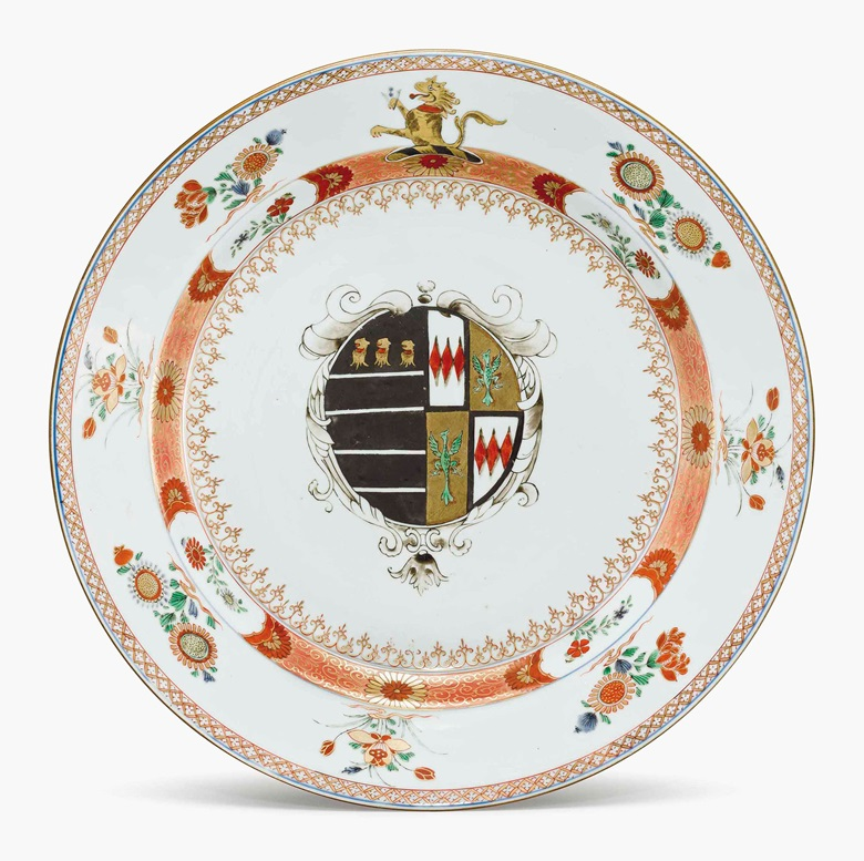 A large armorial dish. Circa 1720. 15¼ in (38.1 cm) diameter. Estimate $5,000-8,000. This lot is offered in Chinese Export Art on 18 January 2017 at Christie's in New York, Rockefeller Plaza