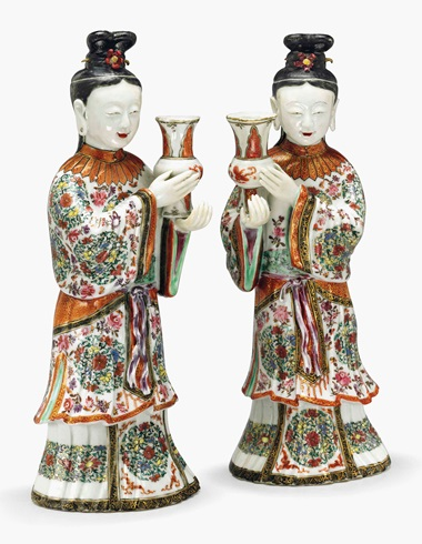A pair of famille rose court lady candleholders. Qianlong period (1735-96). 12 in (30.5 cm) high. Estimate $20,000-30,000. This lot is offered in Chinese Export Art on 18 January 2017 at Christie's in New York, Rockefeller Plaza