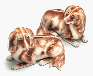 A pair of recumbent spaniels. 18th century. 9½ in (24.1 cm) long. Estimate $20,000-30,000. This lot is offered in Chinese Export Art on 18 January 2017 at Christie's in New York, Rockefeller Plaza