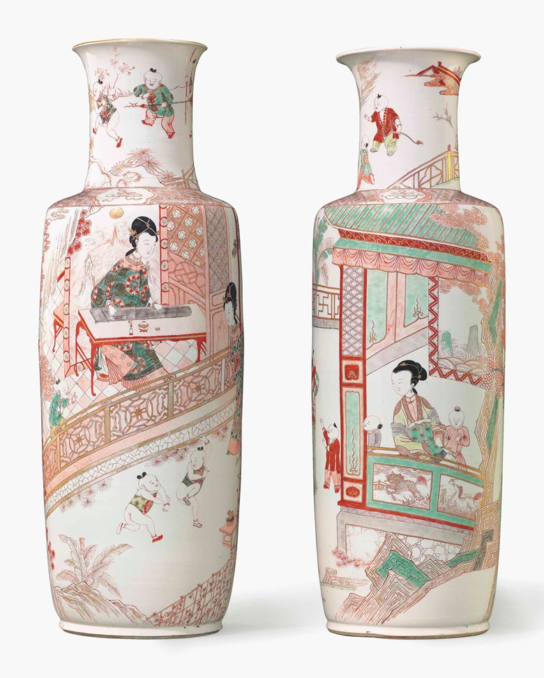 A pair of very large iron-red and famille verte rouleau vases. Kangxi period (1662-1722), 28 in (71.1 cm) high. Estimate $30,000-50,000. This lot is offered in Chinese Export Art on 18 January 2017 at Christie's in New York, Rockefeller Plaza