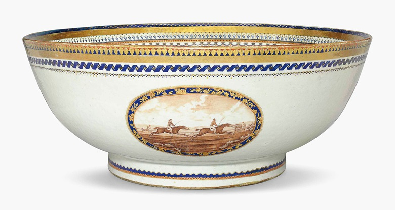 A rare and massive American market sporting punchbowl. Circa 1795-1800. 22½ inches (57.1 cm) diameter. Estimate $10,000-15,000. This lot is offered in Chinese Export Art on 18 January 2017 at Christie's in New York, Rockefeller Plaza