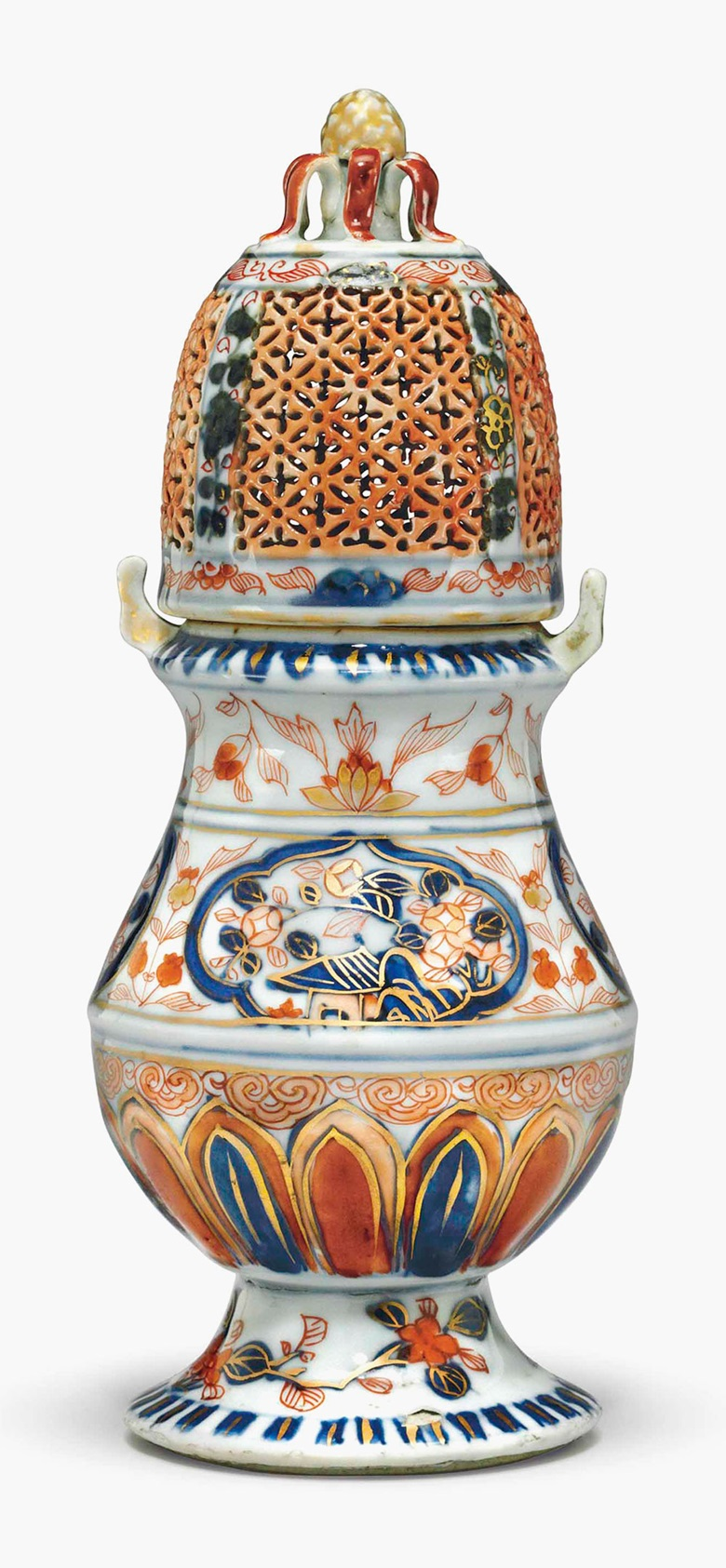 A rare Chinese Imari sugar caster and cover. Circa 1720. 8¼ in (20.3 cm) high, overall. Estimate $10,000-15,000. This lot is offered in Chinese Export Art on 18 January 2017 at Christie's in New York, Rockefeller Plaza
