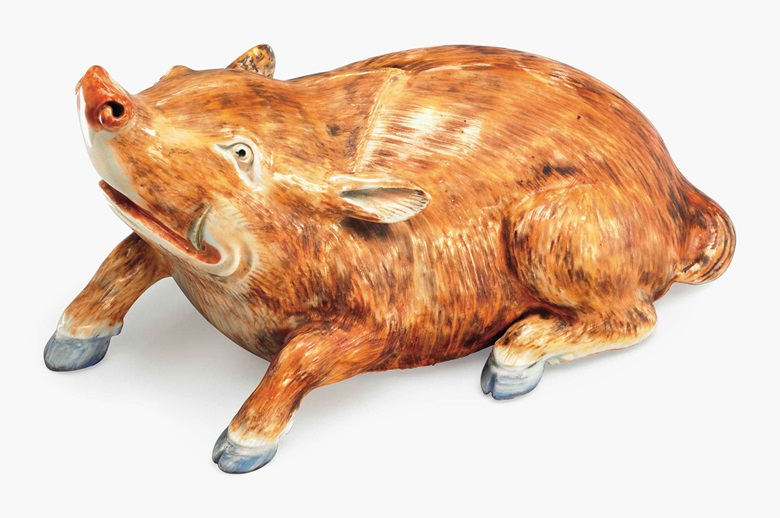 A rare crouching boar. Circa 1760. 8½ in (20.3 cm) long. Estimate $5,000-8,000. This lot is offered in Chinese Export Art on 18 January 2017 at Christie's in New York, Rockefeller Plaza