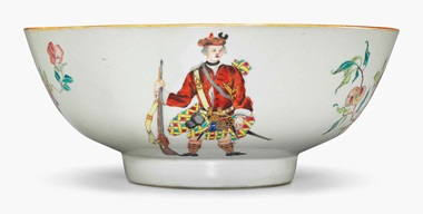 A rare Scotsmen punchbowl. Circa 1745-50. 10⅜ in (26.3 cm) diameter. Estimate $20,000-30,000. This lot is offered in Chinese Export Art on 18 January 2017 at Christie's in New York, Rockefeller Plaza
