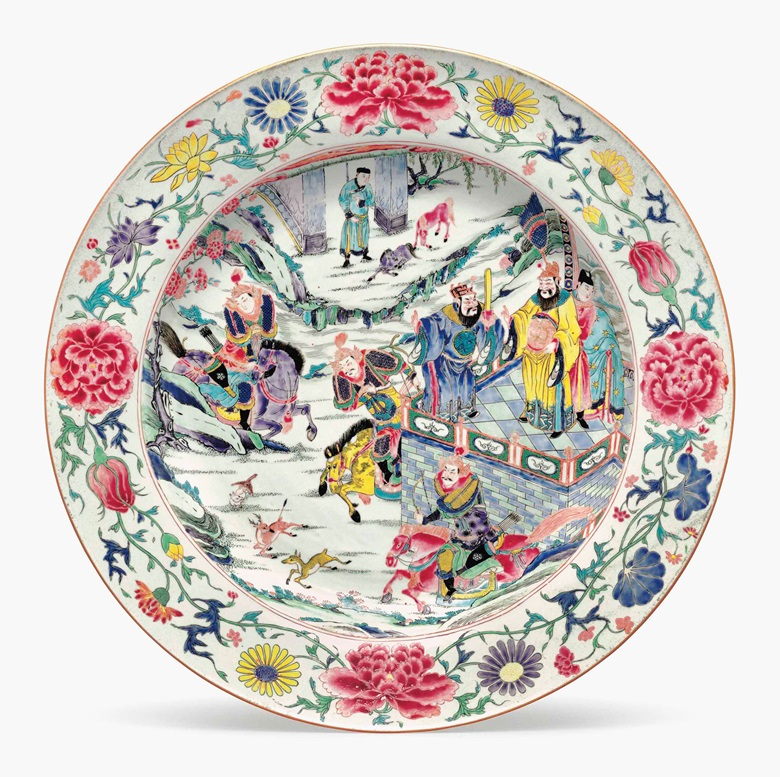 A very large famille rose dish. Yongzheng period (1723-35). 21 in (53.3 cm) diameter. Estimate $20,000-30,000. This lot is offered in Chinese Export Art on 18 January 2017 at Christie's in New York, Rockefeller Plaza