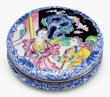 A circular painted enamel snuff box. Qianlong period (1736-95). 3 in (7.6 cm) diameter. This lot was offered in Chinese Export Art on 18 January 2017 at Christie's in New York and sold for $10,000