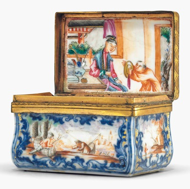 A famille rose and cobalt blue porcelain snuff box. Qianlong period (1735-96). 2¾ in (7 cm). This lot was offered in Chinese Export Art on 18 January 2017 at Christie's in New York and sold for $1,875