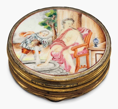 A famille rose porcelain circular double snuff box or patch box. Qianlong period (1735-96). 2½ in (6.4 cm) diameter. This lot was offered in Chinese Export Art on 18 January 2017 at Christie's in New York and sold for $1,250