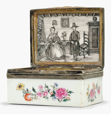 A famille rose porcelain snuff box. Qianlong period (1735-96). 3⅛ in (7.9 cm) wide. This lot was offered in Chinese Export Art on 18 January 2017 at Christie's in New York and sold for $16,250