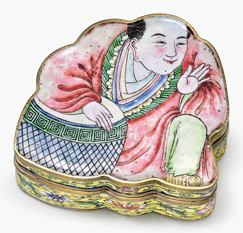 A rare painted enamel buddha snuff box and cover. Qianlong period (1735-96). 2¾ in (7 cm) wide. This lot was offered in Chinese Export Art on 18 January 2017 at Christie's in New York and sold for $4,375
