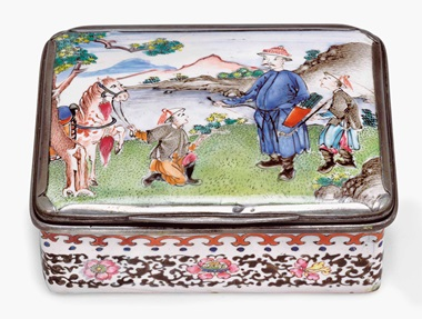 A rectangular painted enamel snuff box. Qianlong period (1735-96). 3⅛ in (7.9 cm) long. This lot was offered in Chinese Export Art on 18 January 2017 at Christie's in New York and sold for $8,750