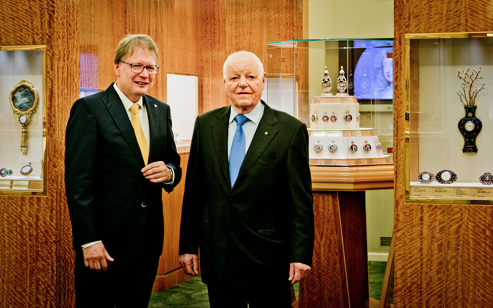 Dr. Friess (left) with Philippe Stern, Honorary President of Patek Philippe, at the Patek Philippe Museum in Geneva