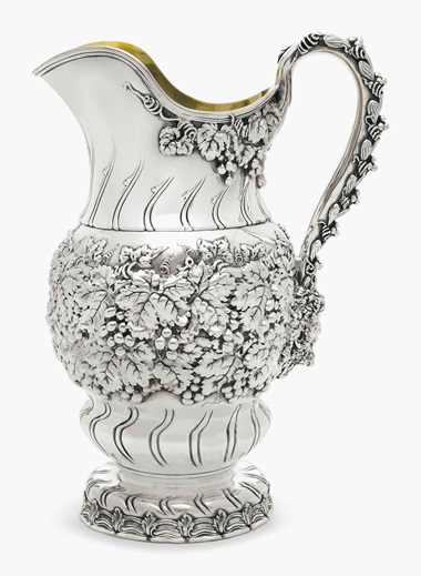 A large silver water pitcher. Mark of Tiffany & Co., New York, 1891-1902. 12 ½ in (32 cm) high, 70 oz. (2,177 gr). This lot was offered in Important American Furniture, Folk Art and Silver on 20 January 2017 at Christie's in New York and sold for $5,625
