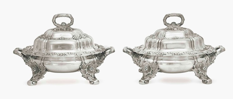 A pair of silver vegetable dishes and covers. Mark of Tiffany & Co., New York, 1879-1891. 11⅜ in (29 cm) long over handles; 121 oz. 10 dwt. (3,783 gr). Estimate $15,000-20,000. This lot is offered in Important American Furniture, Folk Art and Silver on 20 January 2017 at Christie's in New York, Rockefeller Center