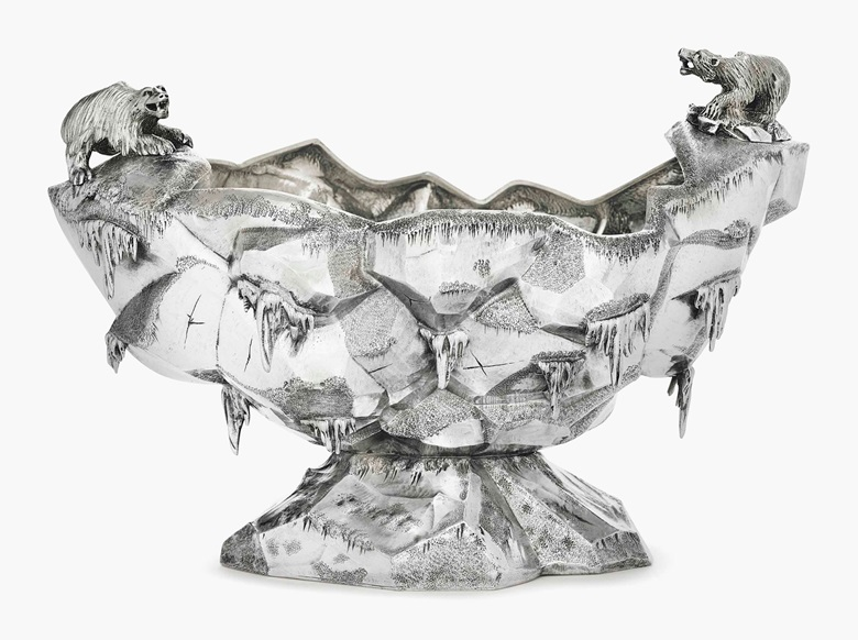 A silver ice bowl. Mark of Gorham Mfg. Co., Providence, RI, 1870. 10¾ in (27.5 cm) long; 25 oz. 12 dwt. (798 gr). This lot was offered in Important American Furniture, Folk Art and Silver on 20 January 2017 at Christie's in New York and sold for $52,500