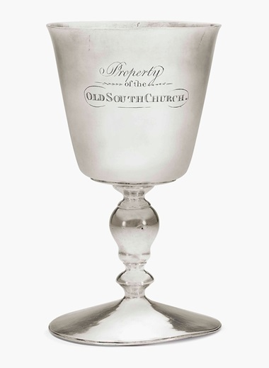 An important silver wine cup. Mark of John Hull and Robert Sanderson, Boston, circa 1660. 7 in (17.8 cm) high; 11 oz. 18 dwt. (370 gr). Estimate $150,000-250,000. This lot is offered in Important American Furniture, Folk Art and Silver on 20 January 2017 at Christie's in New York, Rockefeller Center