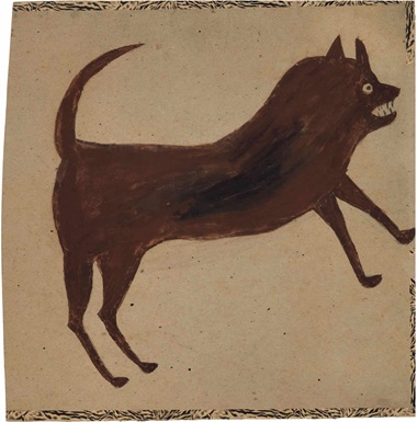 Bill Traylor (1854-1949), Brown Dog Charging, 1939-1942. Tempera and graphite on repurposed card, 15¾ x 15¾ in. This lot was offered in Courageous Spirits Outsider and Vernacular Art on 20 January 2017 at Christie's in New York and sold for $50,000