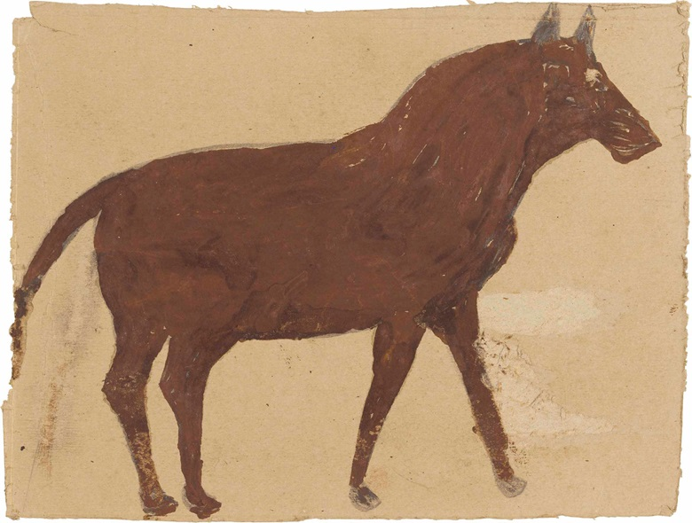 Bill Traylor (1854-1949), Brown Horse, 1939-1942. Tempera and graphite on reverse of card Mars company advertisement, 7¾ x 10¼ in. This lot was offered in Courageous Spirits Outsider and Vernacular Art on 20 January 2017 at Christie's in New York and sold for $35,000