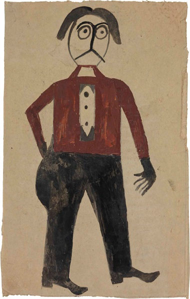 Bill Traylor (1854-1949), Man with Red Shirt, 1939-1942. Tempera and graphite on repurposed card, 12¾ x 8¼ in. This lot was offered in Courageous Spirits Outsider and Vernacular Art on 20 January 2017 at Christie's in New York and sold for $47,500