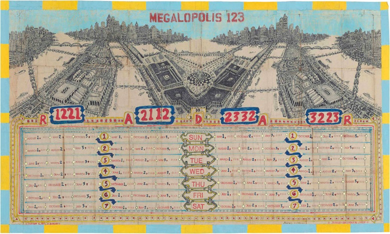 George Widener (b.  1962), Megalopolis 123, 2006. Ink and paint on pieced and reinforced paper napkins, 26¾ x 45⅛ in. This lot was offered in Courageous Spirits Outsider and Vernacular Art on 20 January 2017 at Christie's in New York and sold for $18,750