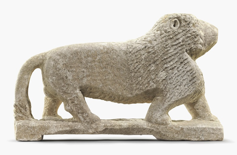 William Edmondson (1874-1951), Lion, circa 1937. Limestone and mortar, lion 22 in high, 37½ in long, 7 in wide; the contact sheet 7½ x 9⅝ in, (2). This lot was offered in Courageous Spirits Outsider and Vernacular Art on 20 January 2017 at Christie's in New York and sold for $511,500