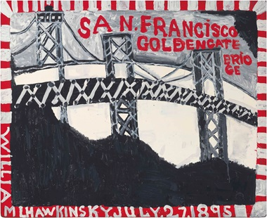 William Hawkins (1895-1989), San Francisco Golden Gate Bridge, 1986. Enamel on board, 39¼ x 48 in. This lot was offered in Courageous Spirits Outsider and Vernacular Art on 20 January 2017 at Christie's in New York