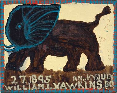 William Hawkins (1895-1990), Big Jumbo, 1988. Enamel on masonite, 48 x 60 in. This lot was offered in Courageous Spirits Outsider and Vernacular Art on 20 January 2017 at Christie's in New York and sold for $30,000