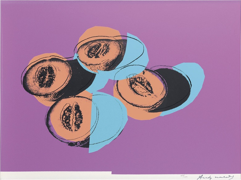 Andy Warhol (1928-1987), Cantaloupes II, from Space Fruit Still Lifes (Feldman & Schellmann II.198), 1979. Image & sheet 30 x 40 in (762 x 1016 mm). Estimate $8,000-12,000. This lot is offered in Prints & Multiples, 6-14 December 2016, Online