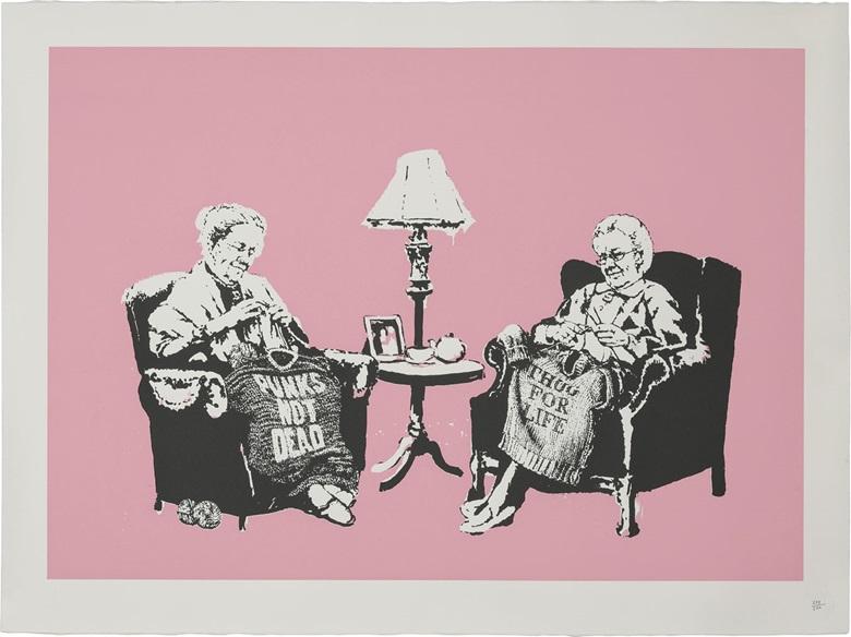 Banksy (b.  1974), Grannies, 2006. Image 19 x 26¾ in (480 x 680 mm), sheet 22½ x 30¼ in (572 x 765 mm). Estimate $3,000-5,000. This lot is offered in Prints & Multiples, 6-14 December 2016, Online