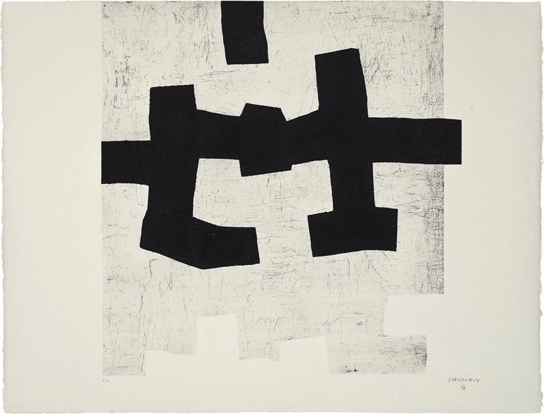 Eduardo Chillida (1924-2002), Aldikatu I (Koelen 72009), 1972. Image 27 ¼ x 26 ¼ in (692 x 665 mm), sheet 30 x 39⅜ in (760 x 1000 mm). Estimate $4,000-6,000. This lot is offered in Prints & Multiples, 6-14 December 2016, Online