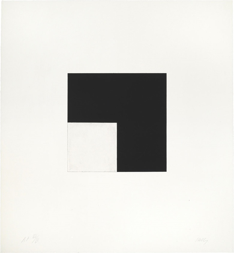 Ellsworth Kelly (1923-2015), Square with Black, from the Concorde Series, 1981-82. Image 11¼ x 11⅝ in (286 x 295 mm), sheet 30¼ x 28 in (768 x 711 mm). Estimate $2,000-3,000. This lot is offered in Prints & Multiples, 6-14 December 2016, Online