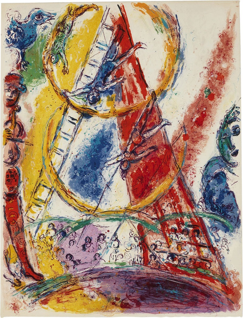 Marc Chagall (1887-1985), Cirque One Plate, 1967. Sheet 16¾ x 12¾ in (425 x 324 mm). Estimate $8,000-12,000. This lot is offered in Prints & Multiples, 6-14 December 2016, Online